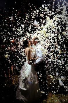 wedding reception send off ideas; Only flower petals...