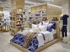 New Zara Home store Milan, interior visual merchandising, bed display.