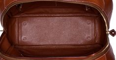 """Luxury Accessories:Bags, Hermes 32cm Fauve Barenia Leather & Toile Omnibus Bag with GoldHardware. Good to Very Good Condition. 12.5"""" Width x1... Image #4"""