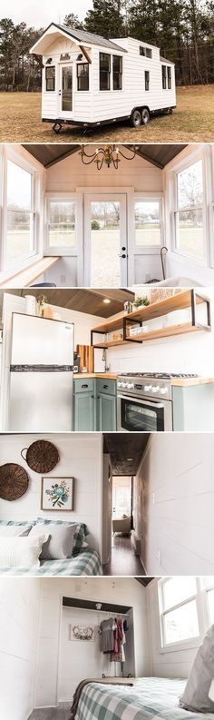 Norma Jean: a tiny house on wheels that's currently being raffled off to raise money for men battling homelessness and addiction. Best Tiny House, Tiny House Plans, Tiny House On Wheels, Casas Trailer, Kombi Home, Tiny House Nation, Building A Container Home, Tiny Cabins, Tiny Spaces