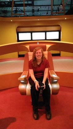 Space.com contributor Elizabeth Howell sits in a captain's chair on a replica bridge from 'Star Trek: The Next Generation.' The chair is part of a touring exhibit called The Starfleet Academy Experience, which Howell saw in Ottawa, Ontario in May, 2016.