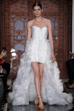 Reem Acra – Bridal Fall 2013    TAGS:Ruffles, Floor-length, Ruched, Strapless, Train, White, Ivory, Reem Acra, Satin, Silk, Tulle, Elegant, Princess