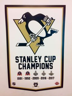 Pittsburgh Penguins 2017 NHL Stanley Cup Championship Banner Style Hockey Poster #PittsburghPenguins