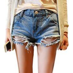 Fashion Holes Plus Size Pure Color Denim Short Women Summer on buytrends.com