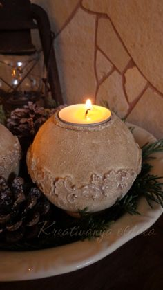#pentart #kőpaszta #karácsony #mécsestartó #befejező wax Tea Lights, Candle Holders, Candles, Advent, Christmas, Diy, Crafts, Candlesticks, Yule