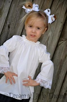 Just A Little Lace Peasant Top sizes 12m6 by dreamalittledream10, $20.00