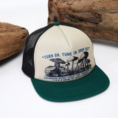 A tribute to Timothy Leary. Turn on, tune in and drop out. New headwear in stock for spring. #surfandstone #headwear #truckerhat #climbing #surfing #nature #outdoors #mushrooms
