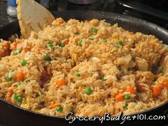 Sumos Copycat stir fried rice ...   For the Stir Fry Rice:  6-8 cups of Cooked Rice, hot  1 onion, finely diced  3 tbs Real Butter  1 pkg frozen peas/carrots  Salt & Pepper  Kikkoman Soy Sauce  1 egg