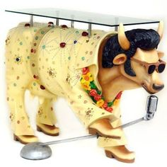 Elvis Cow with microphone and glass table garden decoration | #amazon