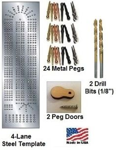 Ready to give your hand a go at making your own cribbage board? Everything you need is in this cribbage board making template kit. Including the pegs. 4-lane Steel Template Cribbage Board Starter Kit.