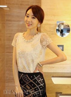 Casual Short Sleeves Lace Embroidery Summer Blouse Beading Korean Shirts.