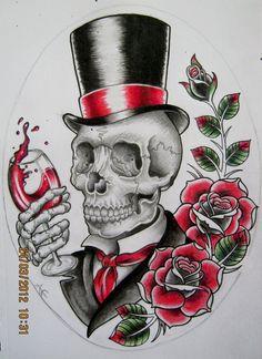 Gentleman Skull Design by Frosttattoo.deviantart.com