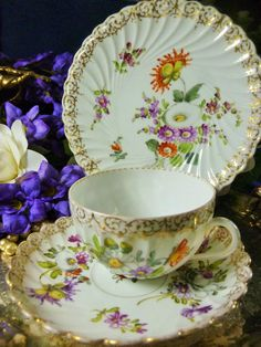 DRESDEN ADOLPH HAMMAN TEA CUP AND SAUCER TRIO DRESDEN SPRAYS AND LUSH GILT TRIM #DRESDENADOLOPHHAMMANc190019
