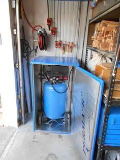 Compressor Barn (Sound Dampen/Proofing Air Compressor) – Eric in Central Florida… – workshop Workshop Storage, Workshop Organization, Garage Workshop, Garage Organization, Tool Storage, Garage Storage, Workshop Ideas, Organized Garage, Garage Shelving