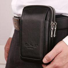 Men Genuine Leather Waist Belt Double Zipper Wallet Cell/Mobile Phone Pocket Cigarette/Key Case Designer Coin Purse Money Bag