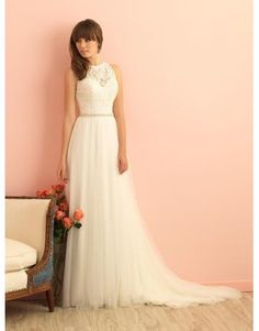 Allure A-linie Romantische Moderne Brautkleider aus Softnetz mit Applikation