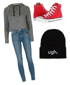"""Untitled #24"" by katrinawells on Polyvore featuring Topshop, Frame Denim and Converse"