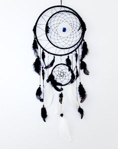Dream Catcher Large dreamcatcher Black Dream Catcher Boho dreamcatcher Heavenly dream Black White wooden frame feathers (52.00 USD) by MagicalSweetDreams