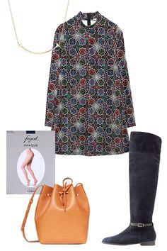 Tiffany T Smile Pendant, $950; tiffany.com Zara Velvet Dress, $40; zara.com Fogal Opaque Tights, $25; fogalworld.com Burberry Suede Over-The-Knee Boots, $1,395; stylebop.com Mansur Gavriel Veg-Tanned Bucket Bag, $595; openingceremony.us   - ELLE.com
