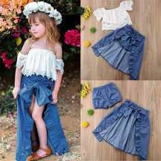 Girls Lacey Off Shoulder Top And Ruffled Denim Hi-Low Skirt Set - Casual Spring Set Frocks For Girls, Dresses Kids Girl, Little Girl Outfits, Kids Outfits Girls, Toddler Girl Outfits, Baby Girl Fashion, Kids Fashion, Bow Skirt, Skirt Set