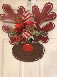 """This is a Great Christmas decoration for your Home. Made of wood and has a wire hanger large 22 x 24 """" Brown body and Red antlers The ribbon is wired and can be adjusted after shipment You can add names on antlers and ask for color of ribbons Fall Wood Crafts, Christmas Wood Crafts, Burlap Crafts, Christmas Door, Homemade Christmas, Christmas Projects, Decor Crafts, Holiday Crafts, Christmas Wreaths"""