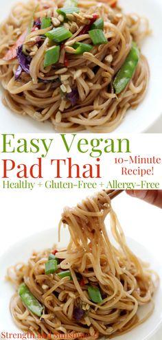 Easy Vegan Pad Thai Recipe, Vegan Recipes, Free Recipes, Veggie Fries, Gluten Free Dinner, Plant Based Eating, Homemade Sauce, Vegetarian Options, Rice Noodles