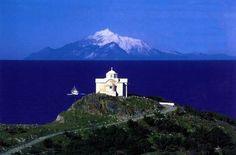 Mount Athos, view from Lemnos island, Greece Mykonos, Santorini, Samos, Beautiful Islands, Beautiful Places, Travel Around The World, Around The Worlds, Greek Beauty, Greek Isles