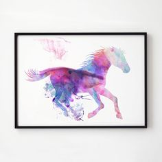 Animal print. Horse watercolor. Wildlife decor.  Printed on high quality art paper.  SIZES:  8.3 x 11.7 (A4) 11.7 x 16.5 (A3)  This print comes