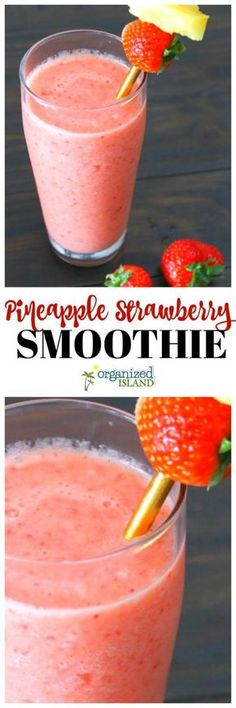 Strawberry Pineapple Smoothie - delicious and easy. Made without yogurt. #strawberry #pineapple #smoothie #recipe #easy #breakfast