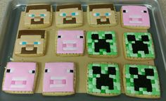 Minecraft cookies -- before I had a chance to remove the grid lines. Minecraft Cookies, Custom Cookies, Sugar Cookies, Grid, Sweets, Desserts, Tailgate Desserts, Deserts, Gummi Candy