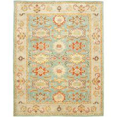 Blue and orange / coral rug    Handmade Kerman Navy Gold Wool Rug (11' x 17') | Overstock.com