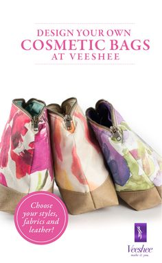 Design your own cosmetic bags at Veeshee. Choose from a variety of fabrics and leathers to create the perfect bag. Each bag is manufactured on-demand in the USA! Enjoy 10% off with code PINTEREST10. #veeshee