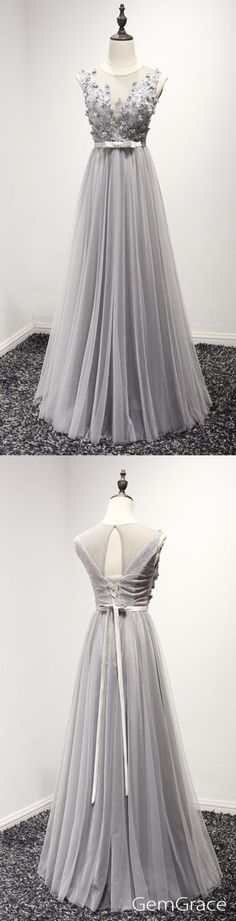Classy long tulle prom dress in grey