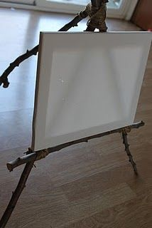 DIY easel using twine and branches from @Michelle Barbour