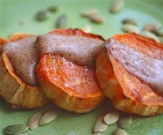 {Paleo} Sweet potato rounds with sweet almond sauce - can be eaten for breakfast. OMG! Best breakfast ever! The sauce is amazing. Delicious on the baked sweet potato slices. This is a keeper!