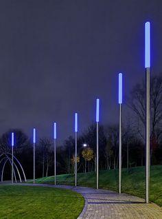 Bollards-meet-street lights to define a pedestrian via