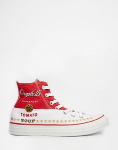 Warhol tomato soup pop art inspired chuck taylor converse high tops