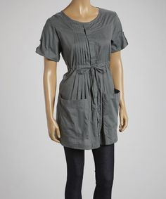 Look what I found on #zulily! Gray Pleated Button-Up by Papillon Imports #zulilyfinds