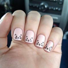 kids nails cute simple \ nails kids cute & nails kids cute easy & cute nails for kids & kids nail designs cute & kids nails cute simple & nails for kids cute short & cute acrylic nails for kids & cute unicorn nails for kids Kawaii Nail Art, Cat Nail Art, Cat Nails, Coffin Nails, Stiletto Nails, Bunny Nails, Minimalist Nails, Minimalist Art, Cat Nail Designs