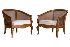 Caned Lounge Chairs by Drexel, Pair