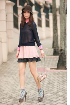 Discover this look wearing Heather Gray Sugarfree Shoes Heels, Light Pink Ianywear Dresses - pink & navy by mayo_wo styled for Preppy, Everyday in the Spring Socks And Heels, Shoes Heels, Pink Dress, Preppy, Lace Skirt, Heather Grey, Skirts, How To Wear, Construction