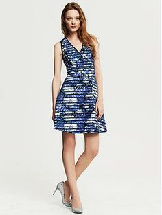 Striped Floral Fit-and-Flare Dress