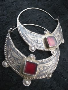 Africa | Old silver and red glass Berber earrings | ca. Early 20th century | Ida ou Nadif, Morocco
