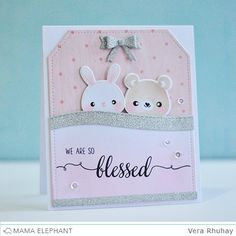Blessed with Vera (mama elephant Z Cards, Cool Cards, Kids Cards, Card Making Inspiration, Making Ideas, Mama Elephant Stamps, New Baby Cards, Elephant Design, Copics