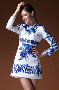Stylish Round Neckline Long Sleeve Floral Imprint Dress: tidestore.com #tidestore