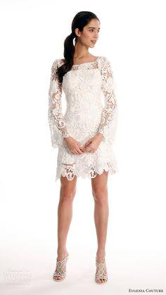 Eugenia Couture joy bridal spring 2017 long bell sleeves scoop neck lace short wedding dress (maya) mv