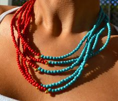 Five Strand Boho Asymmetrical Necklace by uniquebeadingbyme