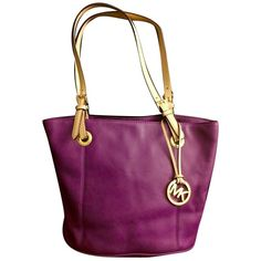 Pre-owned Michael Kors Mk Leather Gold Hardware Handbag Summer Fall... ($161) ❤ liked on Polyvore