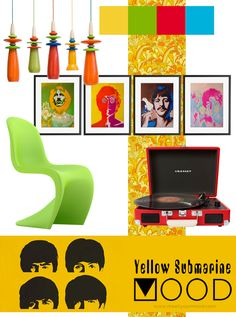 interior design MOODboard by meetyourMOOD: the beatles, music, colorful interior, crosley, chair, lamps, posters