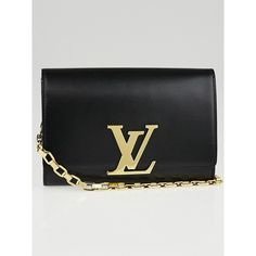 Pre-owned Louis Vuitton Black Box Calfskin Leather Chain Louise Clutch... (2,820 CAD) ❤ liked on Polyvore featuring bags, handbags, clutches, oversized purse, pre owned purses, louis vuitton, chain purse and pre owned handbags